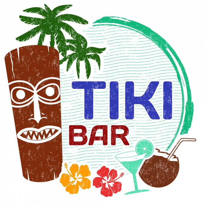 Tiki Bar auf der Hawaii Party