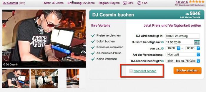 Frage-Funktion auf DJ-Profil