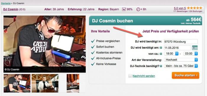 Suchmaske DJ-Profil