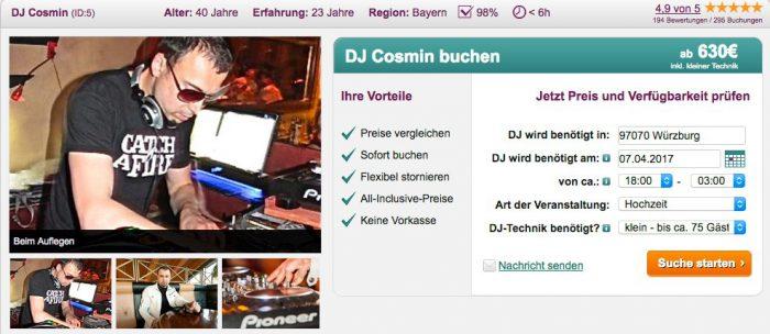 Suchmaske auf DJ-Profil