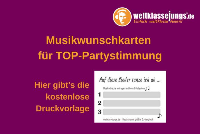 Musikwunschkarten für eure Party: Einsatzmöglichkeiten + kostenlose Druckvorlage